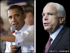 Barack Obama (L) and John McCain