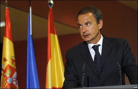 Spanish Prime Minister Jose Luis Rodriguez Zapatero at Barajas airport, Madrid (20/08/2008)