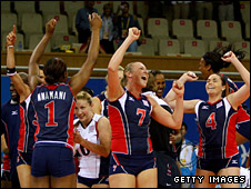 The US team celebrate their semi-final victory over Cuba