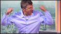 Adrian Chiles celebrates Zoran Primorac's victory