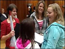Pupils at Penyrheol Comprehensive School in Swansea receive their results