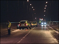 Scene of the crash on the Itchen Bridge