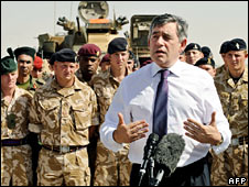 Gordon Brown addresses troops at Camp Bastion