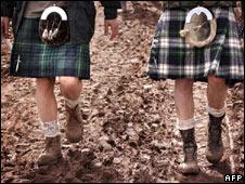 T in the Park festival-goers in kilts