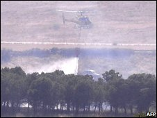 Helicopter at crash site