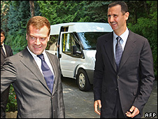 Syrian President Bashar al-Assad is holding talks with his Russian counterpart, Dmitry Medvedev