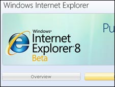 Screengrab of IE8 webpage, Microsoft