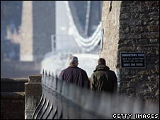 Two men walk across the Clifton Suspension Bridge