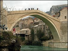 The Stari Most connects Bosniak and Croatian communities in Bosnia
