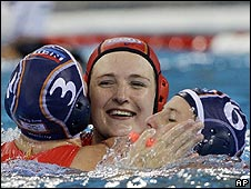 The Dutch were all smiles after winning gold in women's water polo