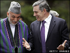 Afghan President Hamid Karzai and Gordon Brown