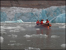 Close encounter with a glacier � three storeys high, honest