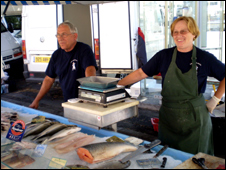A family fish stall
