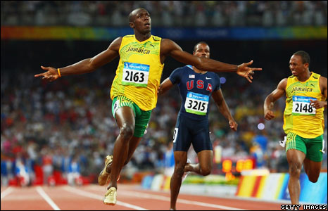 Usain Bolt wins the 100m final