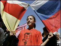 Manifestante en Osetia del Sur