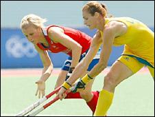 GB's Alex Danson tries to challenge Australia's Angie Lambert