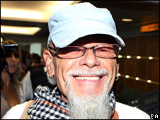 Gary Glitter arriving at Heathrow Airport