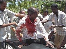 A civilian wounded near Bakara market, Mogadishu, 22 August 2008