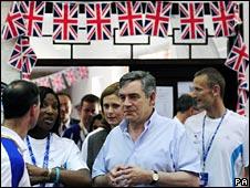 Mr Brown meets athletes at Team GB's Olympics athletics lodge
