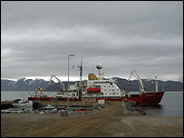 Unloading at Ny Alesund