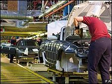 Production line at MG Longbridge factory