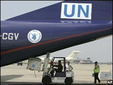 UN chartered cargo plane at Don Mueang airport