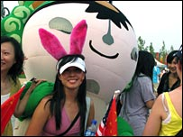 Frances Chen with an Olympic mascot
