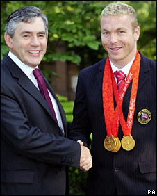 Gordon Brown meets Chris Hoy