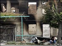 Разрушенное здание в Цхинвали