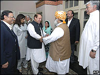 "Pakistan""s ruling coalition leaders: Asif Ali Zardari (left),  Nawaz Sharif (centre left), Maulana Fazal-ur-Rehman (centre right) and Asfand Yarwali (right)"