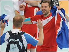 Iceland celebrate their handball victory