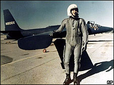 US pilot Gary Powers poses in front of a U-2 spy plane in this undated photo