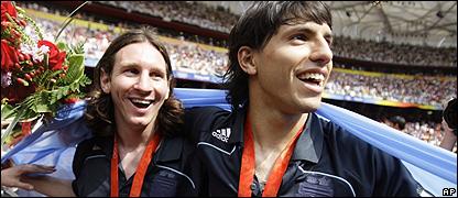 Lionel Messi y Sergio Ag�ero