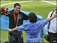 Juan Riquelme y Maradona