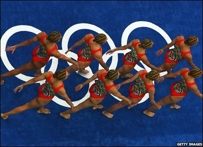 The Spanish synchronised swimming team compete on their way to winning the silver medal in the team event free routine final
