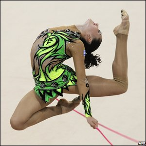 Israel's Irina Risenzon competes in the individual all-around final of the rhythmic gymnastics