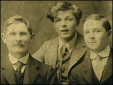 Hughe's family father and brother circa 1910. Father L-R: Gareth Hughes's father, John Ellias Hughes, Gareth Hughes, his brother Brynley, c. 1910