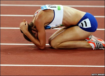 But there is frustration for British medal hope Lisa Dobriskey, who can only finish fourth in the 1500m