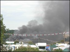 Fire at Reading Festival (picture from Steve Wallis)