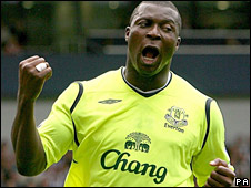 Yakubu celebrates after scoring Everton's second goal