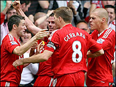 Liverpool celebrate their equaliser against Middlesbrough