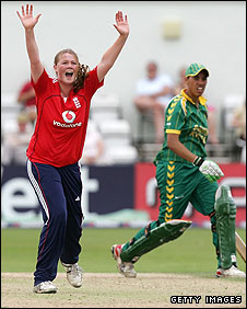 Anya Shrubsole removes South Africa opener Alicia Smith lbw