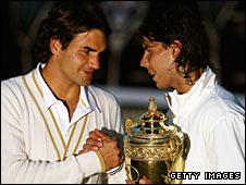 Roger Federer (left) congratulates Rafael Nadal after the Spaniard's 2008 Wimbledon win