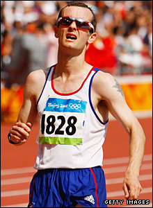 Britain's Dan Robinson crosses the line