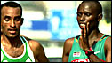 Sammy Wanjiru (right) with Deriba Merga during the Marathon