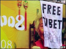 A pro-Tibet protest, Beijing, 15/08