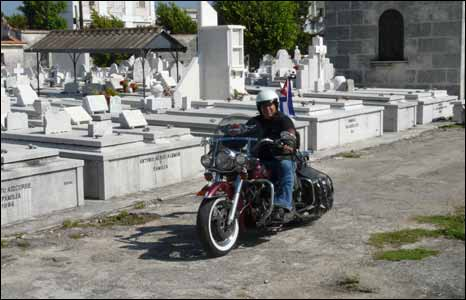 Biker in the cememtery, Havana