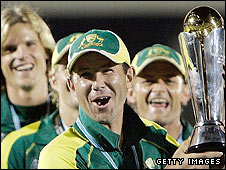 Ricky Ponting holds the Champions Trophy