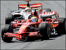 Felipe Massa leads Lewis Hamilton at the start of the European Grand Prix