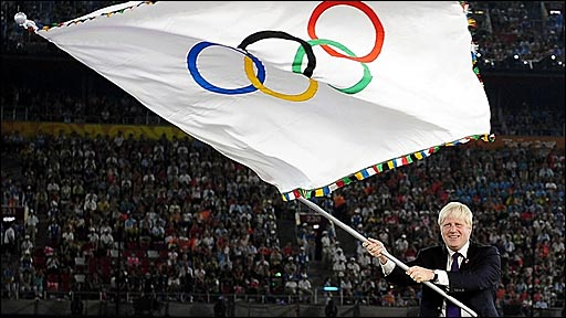 London mayor Boris Johnson with the Olympic flag